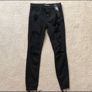 Express Black Distressed Skinny Mid Rise Jeans 4
